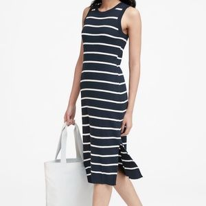 BANANA REPUBLIC NAVY STRIPED KNIT DRESS-XSP